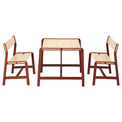 YPPERLIG dětský stůl a 2 lavičky 74 cm 62 cm 56 cm