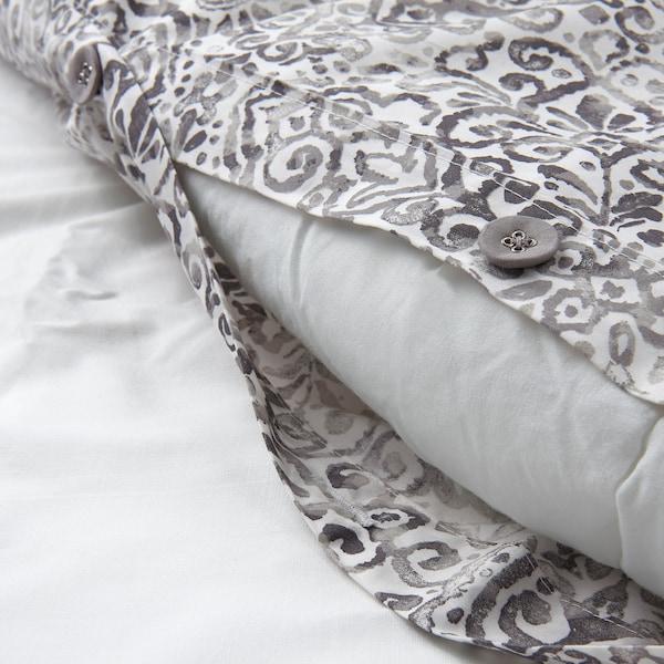 ÄNGSKLOCKA Duvet cover and 2 pillowcases, white/grey, 200x200/50x60 cm