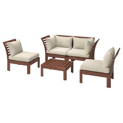 ÄPPLARÖ 4-seat conversation set, outdoor, brown stained/Hållö beige