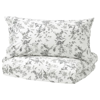 ALVINE KVIST Duvet cover and pillowcase, white/grey, 140x200/70x90 cm