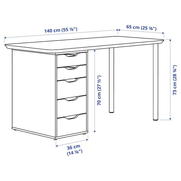 ANFALLARE / ALEX Desk, bamboo/white, 140x65 cm
