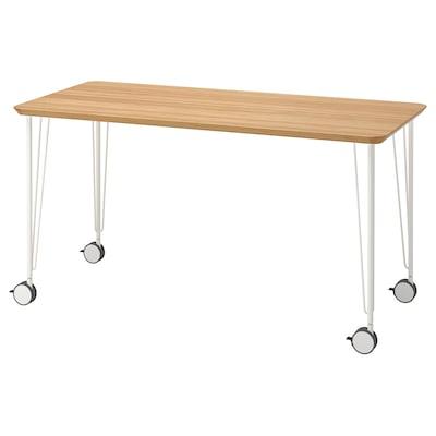 ANFALLARE / KRILLE Desk, bamboo/white, 140x65 cm