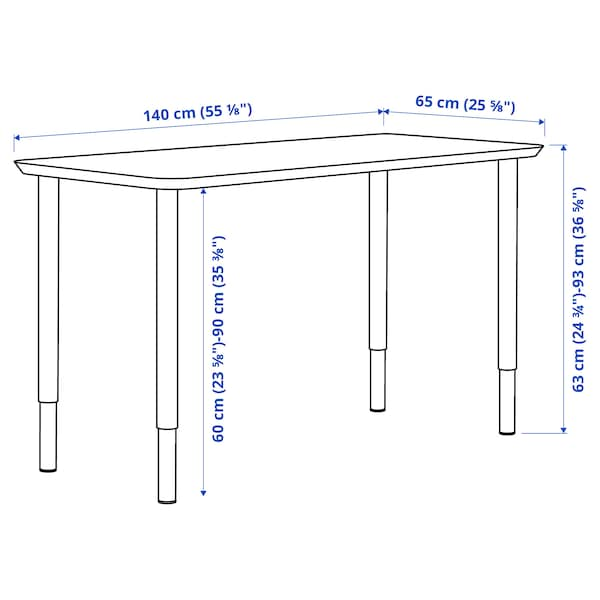 ANFALLARE / OLOV Desk, bamboo/white, 140x65 cm