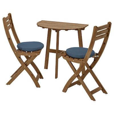 ASKHOLMEN Table f wall+2 fold chairs, outdoor, grey-brown stained/Frösön/Duvholmen blue