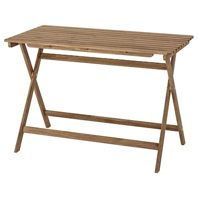 ASKHOLMEN Table, outdoor, foldable light brown stained, 112x62 cm