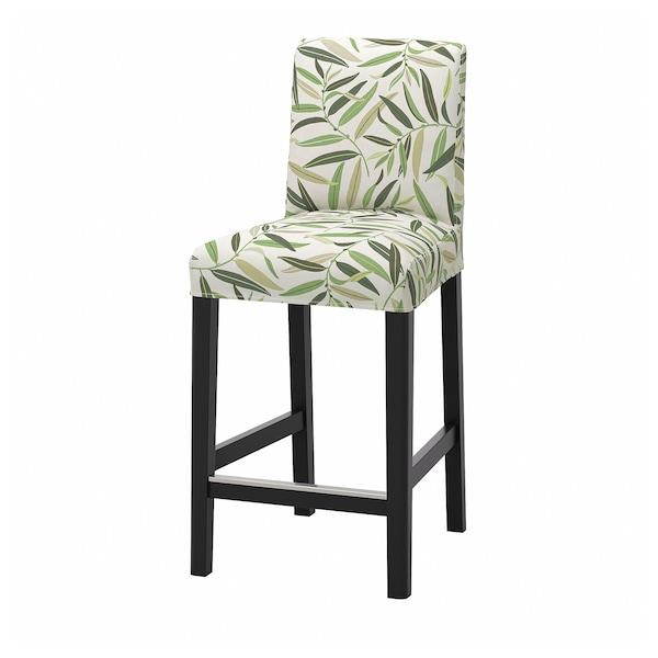 BERGMUND Bar stool with backrest, black/Fågelfors multicolour, 62 cm