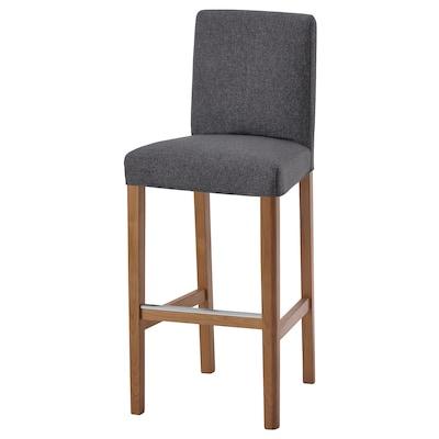 BERGMUND Bar stool with backrest, oak/Gunnared medium grey, 75 cm