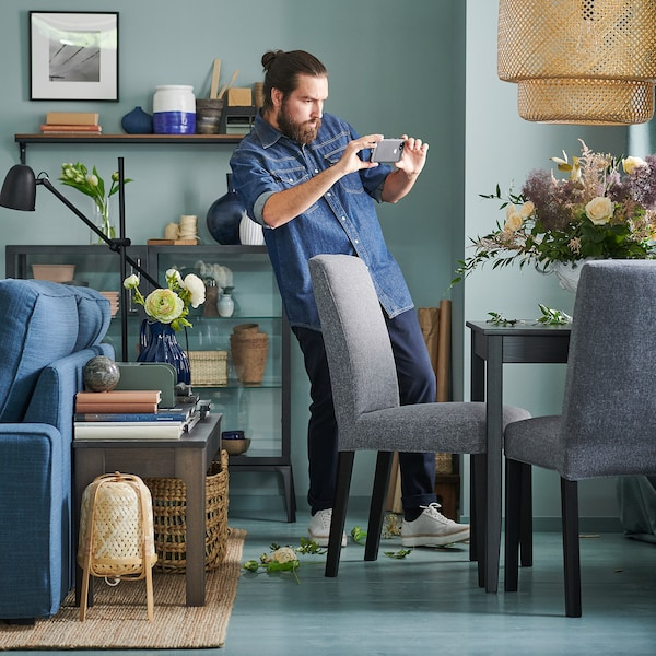 BERGMUND Chair, black/Gunnared medium grey