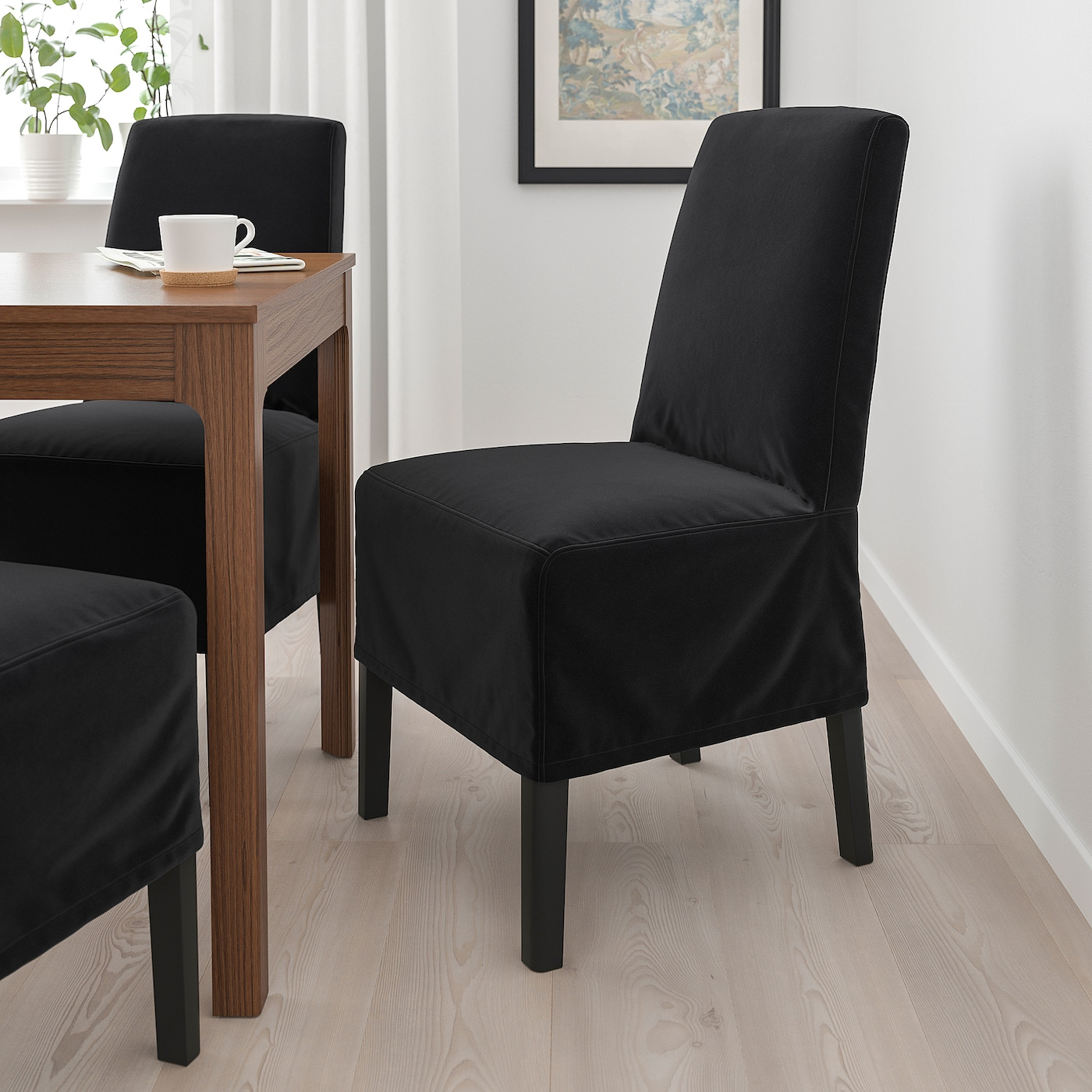 BERGMUND Chair w medium long cover, black/Djuparp dark grey