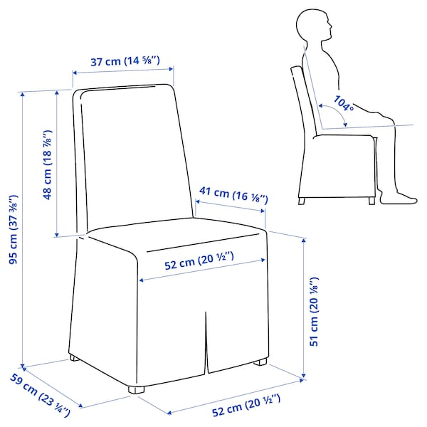 BERGMUND Chair with long cover, black/Kolboda beige/dark grey