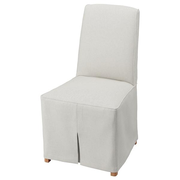 BERGMUND Chair with long cover, oak/Kolboda beige/dark grey