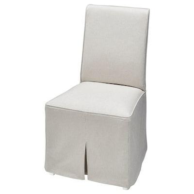 BERGMUND Chair with long cover, white/Kolboda beige/dark grey
