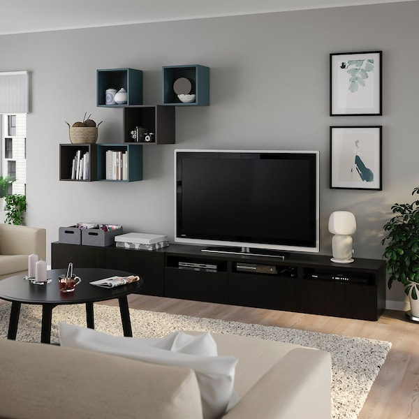BESTÅ / EKET Cabinet combination for TV, black-brown/dark grey grey-turquoise, 300x42x210 cm