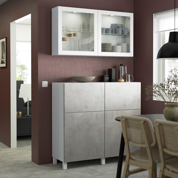 BESTÅ Storage combination w doors/drawers, white Kallviken/Stubbarp/light grey concrete effect, 120x42x213 cm