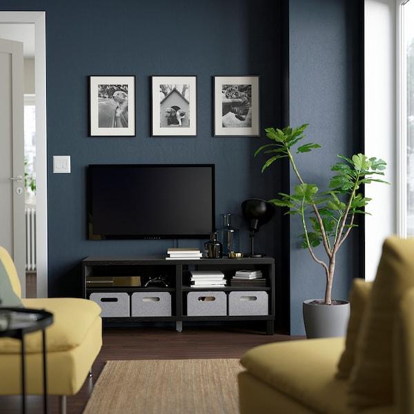 BESTÅ TV bench, black-brown, 120x40x48 cm