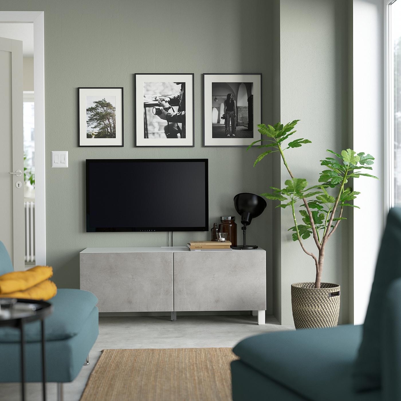 Bestå Tv Bench With Doors White Kallviken Stubbarp Light Grey Ikea