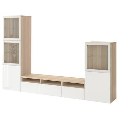 BESTÅ TV storage combination/glass doors, white stained oak effect/Selsviken high-gloss/white clear glass, 300x42x193 cm