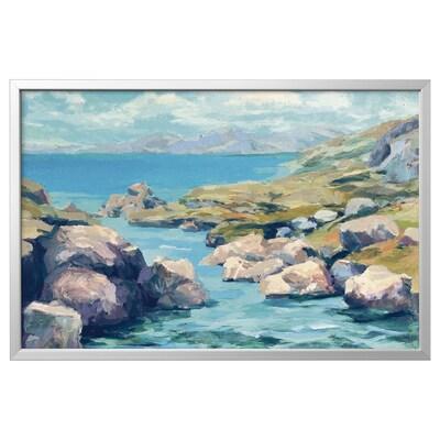 BJÖRKSTA Picture with frame, Coastal Inlet/aluminium-colour, 118x78 cm