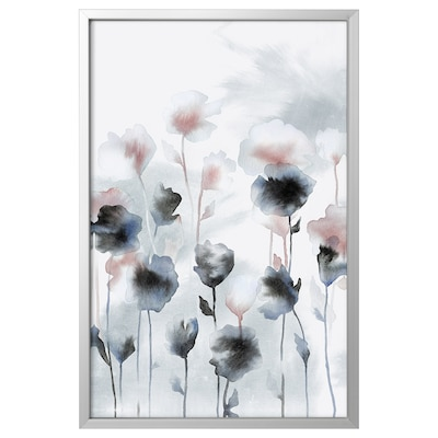 BJÖRKSTA Picture with frame, Field flowers/aluminium-colour, 78x118 cm