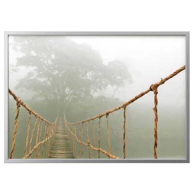 BJÖRKSTA Picture with frame, jungle journey/aluminium-colour, 140x100 cm