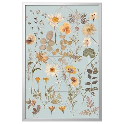BJÖRKSTA Picture with frame, Pressed Prism/aluminium-colour, 78x118 cm