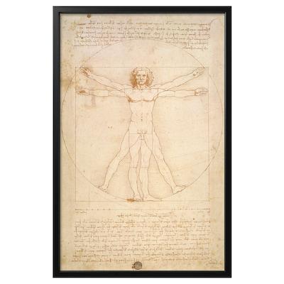 BJÖRKSTA Picture with frame, The Vitruvian Man/black, 78x118 cm