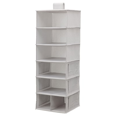 BLÄDDRARE Hanging storage with 7 compartments, grey/patterned, 30x30x90 cm