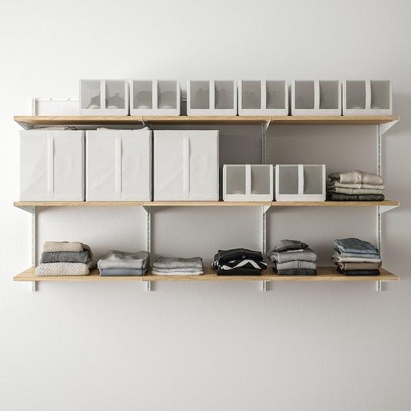 BOAXEL Shelving unit, white/oak, 187x40x101 cm
