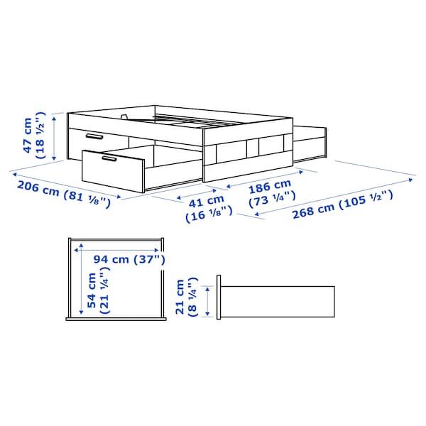 BRIMNES Bed frame with storage, white/Lönset, 180x200 cm