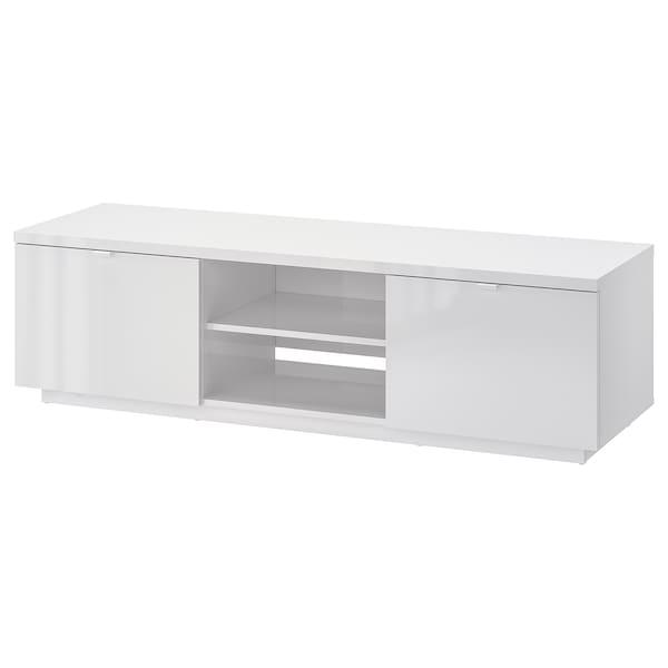 BYÅS TV bench, high-gloss white, 160x42x45 cm