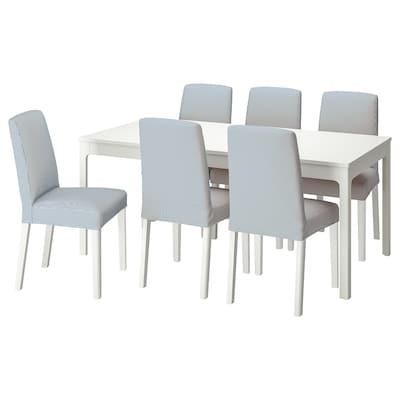EKEDALEN / BERGMUND Table and 6 chairs, white/Rommele dark blue/white, 180/240 cm