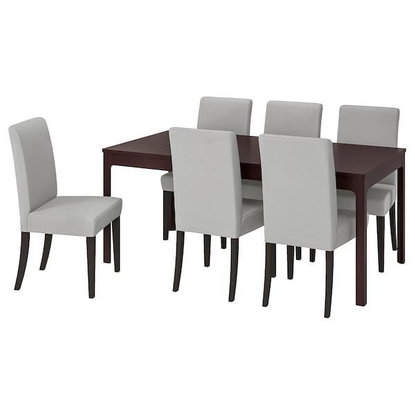 EKEDALEN / HENRIKSDAL Table and 6 chairs, dark brown/Ramna light grey, 180/240 cm