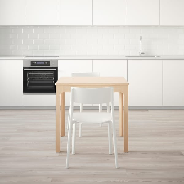 EKEDALEN / JANINGE Table and 2 chairs, birch/white, 80/120 cm