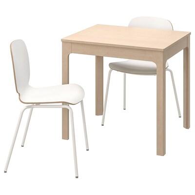 EKEDALEN / SVENBERTIL Table and 2 chairs, birch/white, 80/120 cm