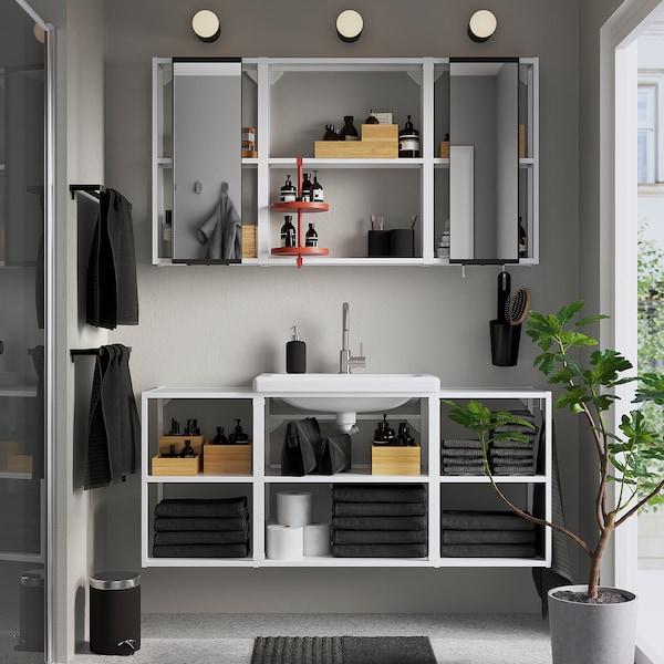 ENHET / TVÄLLEN Bathroom furniture, set of 17, white/Glypen tap, 140x43x65 cm