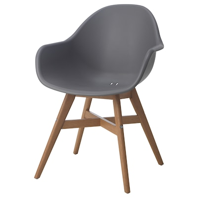 FANBYN Chair with armrests, grey/in/outdoor