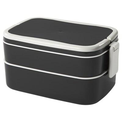 FLOTTIG Lunch box, black/white, 21x13x10 cm