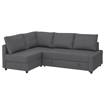 FRIHETEN Corner sofa-bed with storage, with extra back cushions/Skiftebo dark grey
