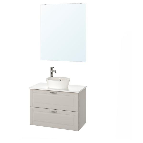 GODMORGON/TOLKEN / KATTEVIK Bathroom furniture, set of 5, Kasjön light grey/marble effect Voxnan tap, 82 cm