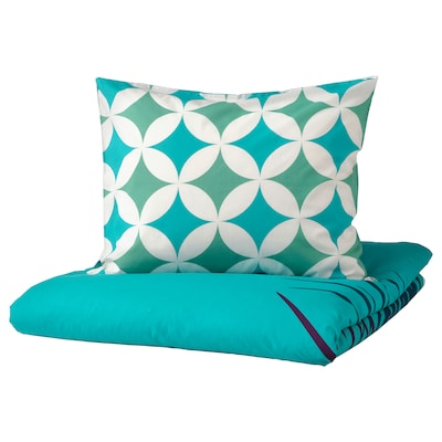 GRACIÖS Duvet cover and pillowcase, tile pattern/turquoise, 150x200/50x60 cm