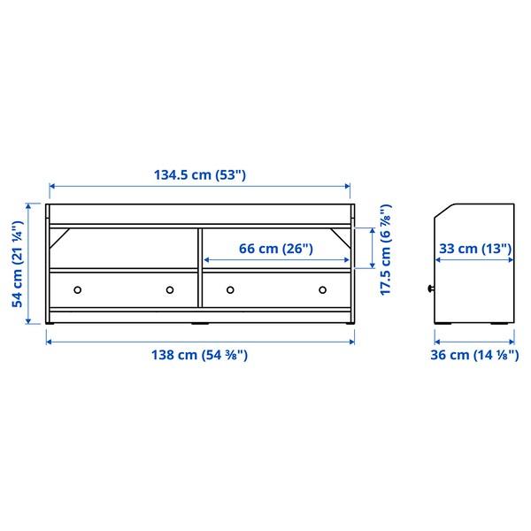 HAUGA TV bench, white, 138x36x54 cm