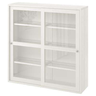 HAVSTA Glass-door cabinet, white, 121x35x123 cm