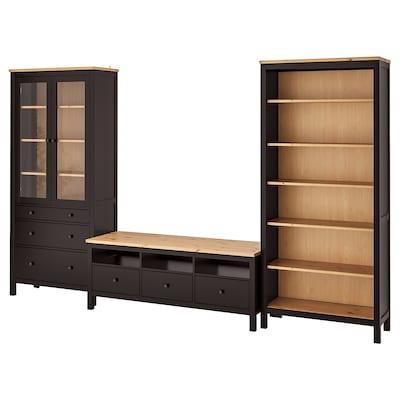 HEMNES TV storage combination, black-brown/light brown clear glass, 326x197 cm