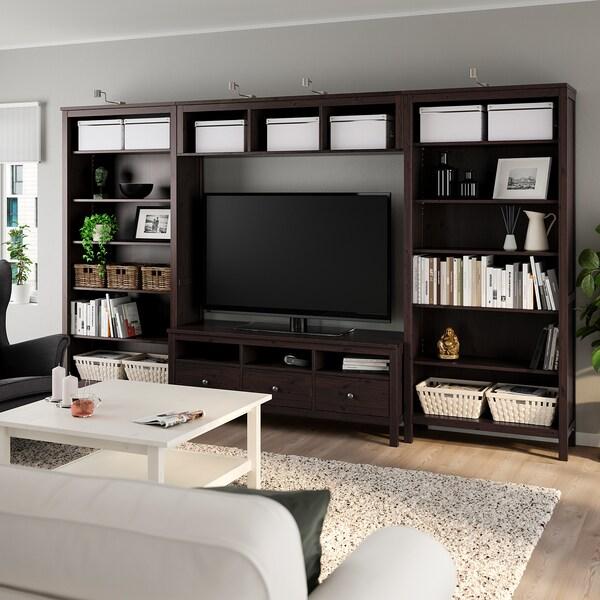 HEMNES TV storage combination, black-brown, 326x197 cm