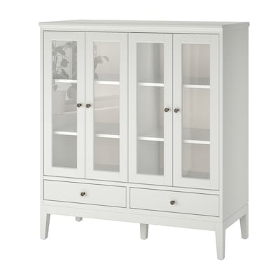 IDANÄS Cabinet with bi-folded glass doors, white, 121x50x135 cm