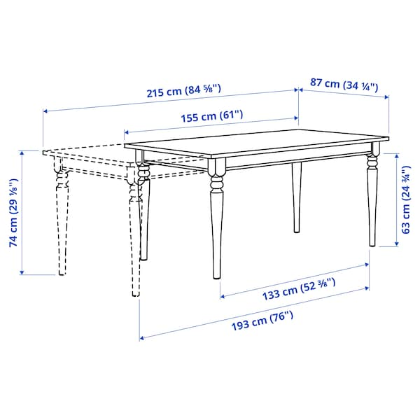 INGATORP / BERGMUND Table and 4 chairs, white/Kolboda beige/dark grey, 155/215 cm