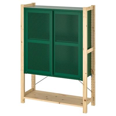 IVAR 1 section/shelves/cabinet, pine/green mesh, 89x30x124 cm
