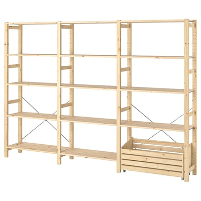 IVAR Shelving unit with storage box, pine, 259x30x179 cm