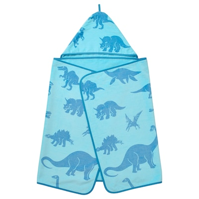 JÄTTELIK Towel with hood, dinosaur/blue, 140x70 cm
