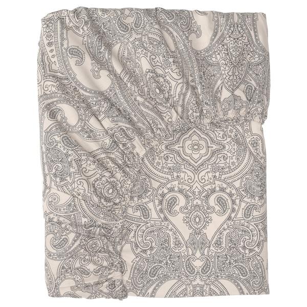 JÄTTEVALLMO Fitted sheet, beige/dark grey, 140x200 cm
